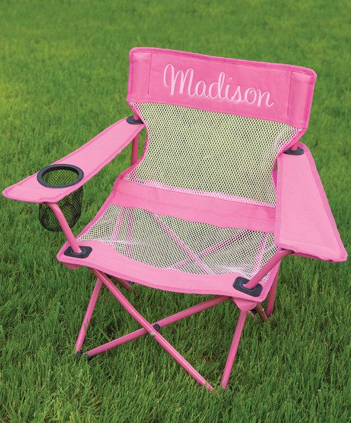 Kidkraft pink personalized camping chair for Monogrammed kids chair