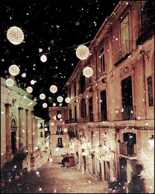 Christmas lights at night.