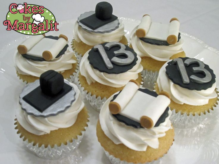 Elegant black, white, and silver Bar Mitzvah cupcakes