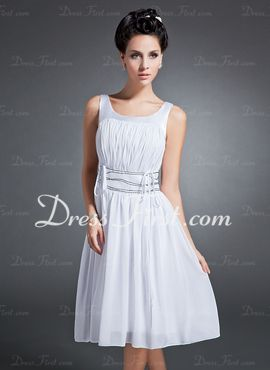 Love this A-Line/Princess Scoop Neck Knee-Length Chiffon Charmeuse