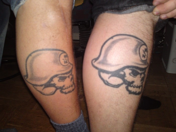Metal Mulisha Leg Tattoos.