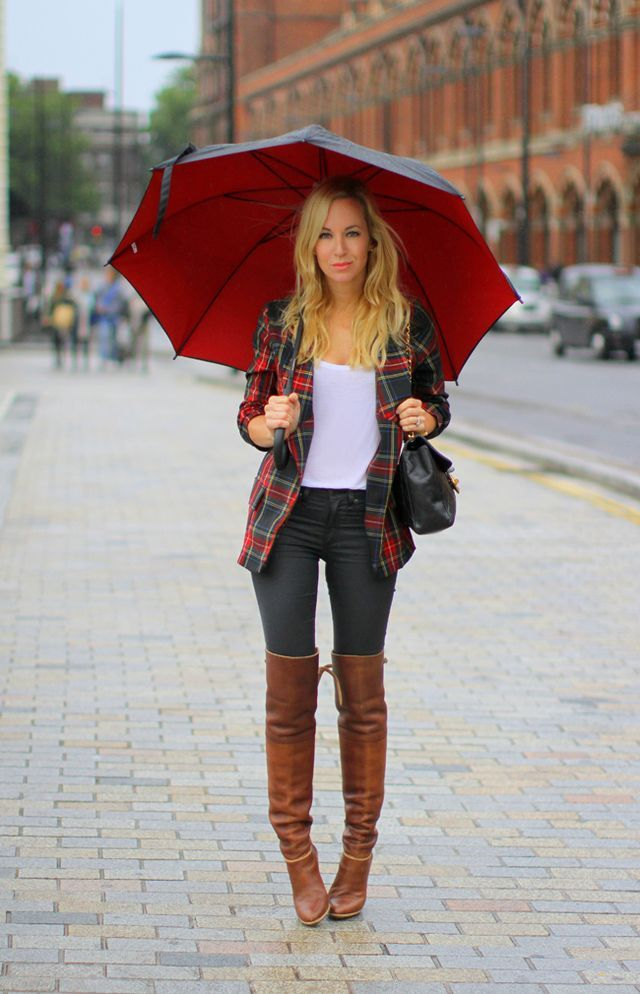 tartan blazer | soft tee | leggings | over the knee boots