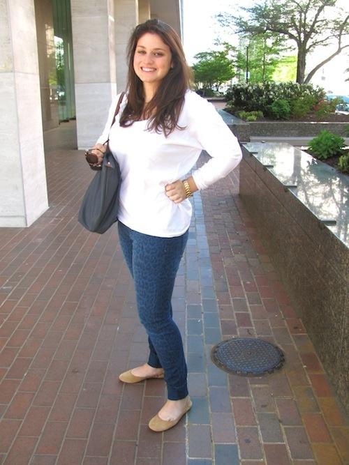 Freshman Roselyn Mathews in leopard print jeans via @Amy Levin