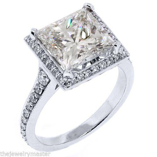 Diamond halo engagement ring princess square 5 carat 14kt white gold