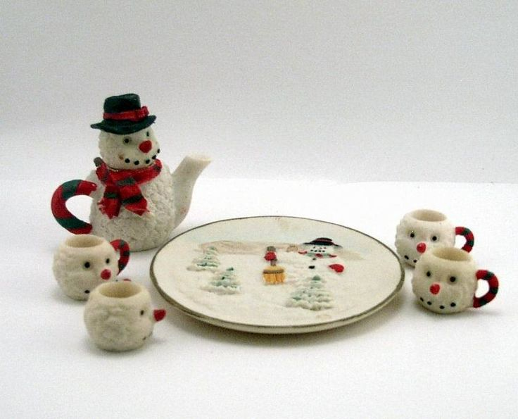 Oh So Adorable Vintage Tea Set : Mini Tea Set ...so cute I love snowmen  Tea 4 Two and Two 4 Tea  Pi ...
