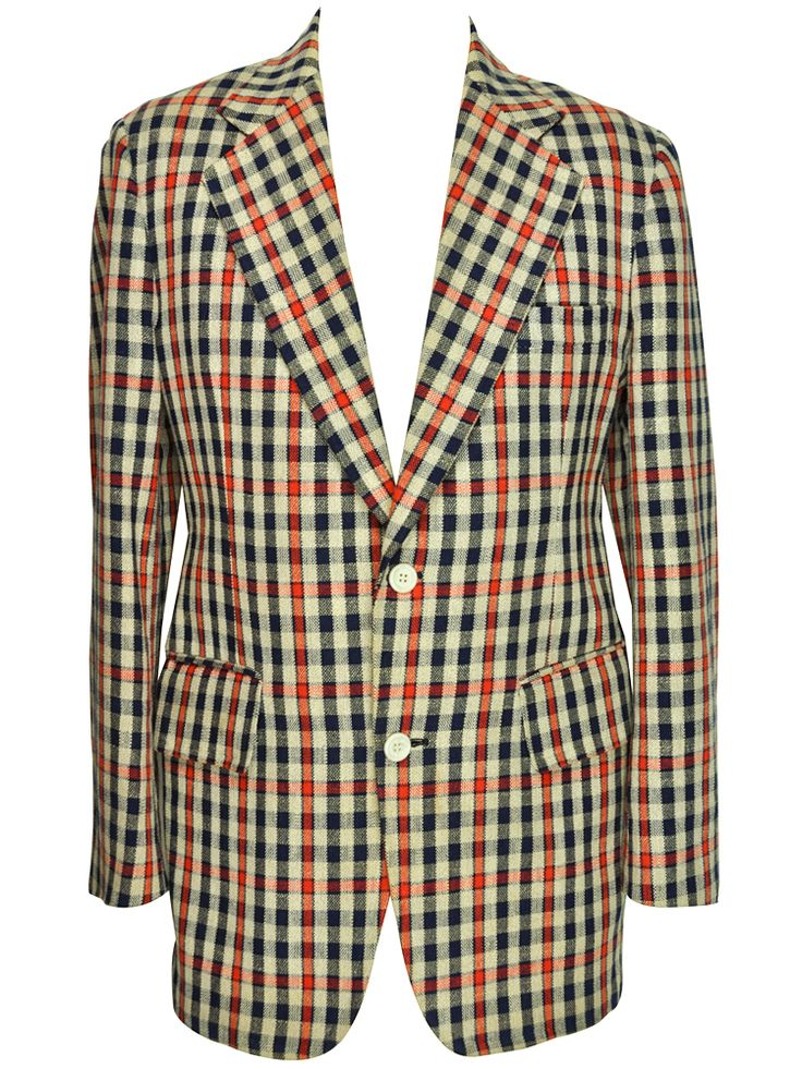 linen blue and check vintage blazer from rock it again