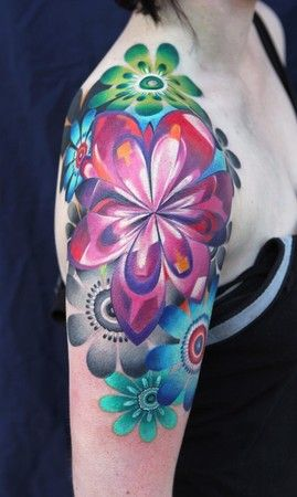 colourful flower graphic tattoos