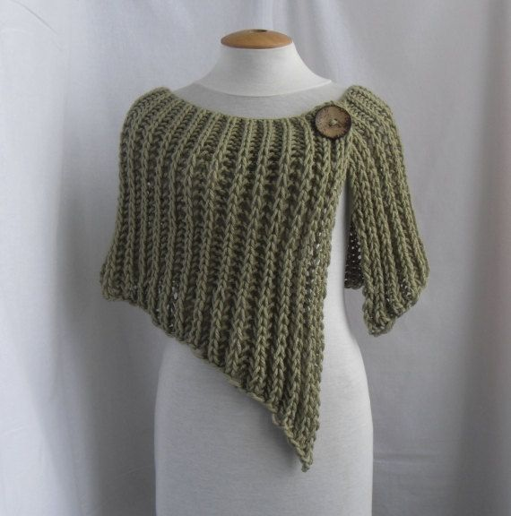 Knitted wrap poncho shawl with one button