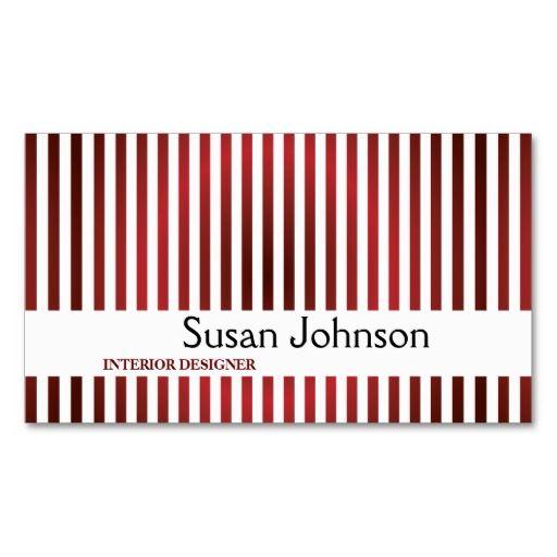 Interior designer red stripes business card