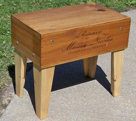 Wine crate tables furniture pinterest for Wine crate furniture