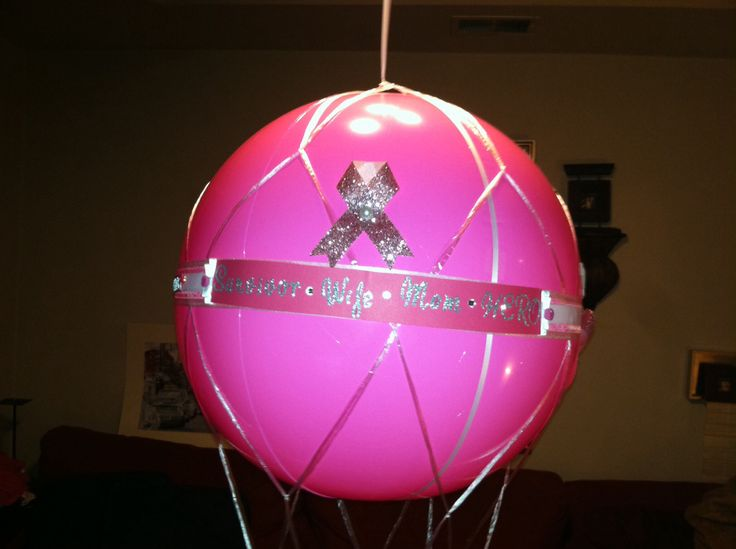 medium inflatable pink ribbon hot air balloon hanging basket