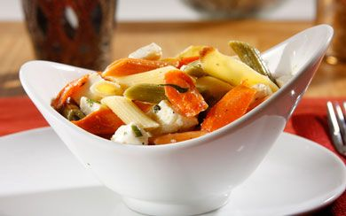 ... Pasta Salad with Roasted Carrots, Parsnips, Fresh Mozzarella & Basil