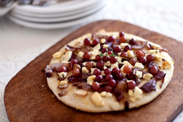 Pizza {Champagne Grapes, carmelized onions, gorgonzola, thyme, and ...