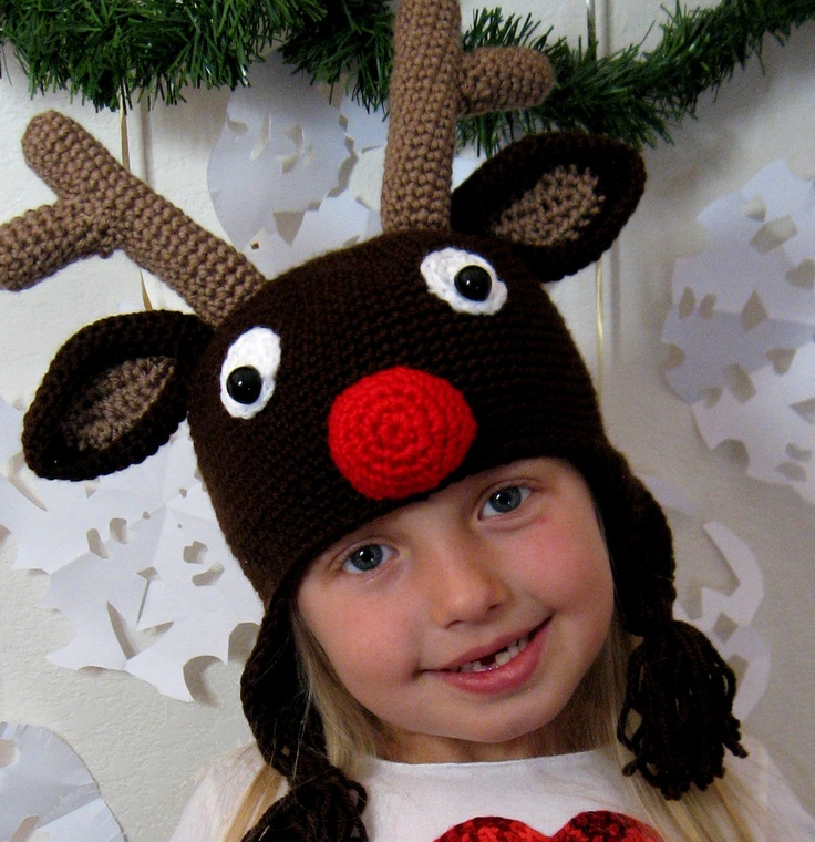Crochet Pattern For Rudolph Hat : Crochet Hat Pattern - Rudolph Reindeer Crochet Hat Pattern ...