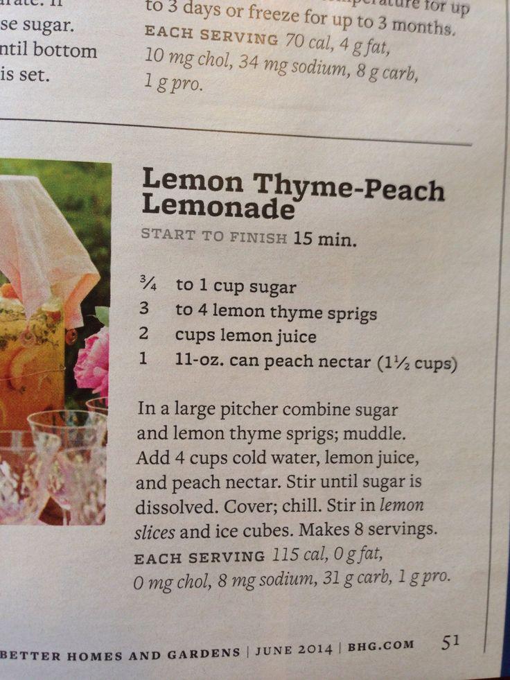 Lemon thyme-peach lemonade.