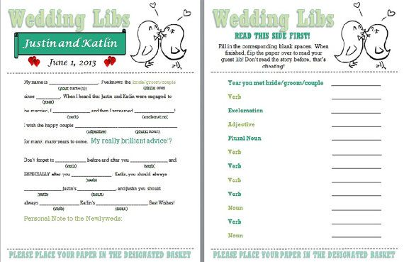 Wedding Mad Lib Template to Print by HeavenlySparrow on Etsy, $5.00