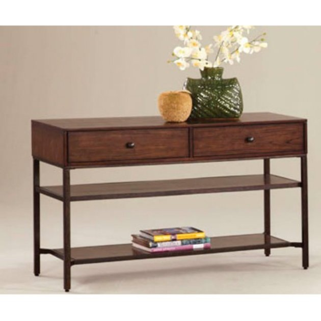 Progressive Furniture Lakeside Manor Rectangular Dark Birch Wood Metal Sofa Table 240
