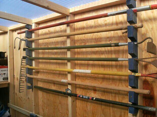 Diy garden tool rack instructables projects pinterest for Diy garden tool storage
