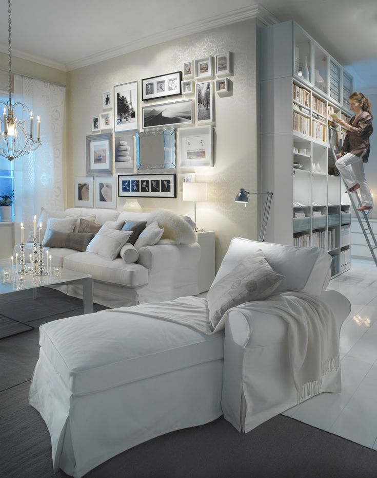 Glamorous & cozy! Ikea Ektorp slipcover sofa and chaise. Yes, you can have white furniture with kids!