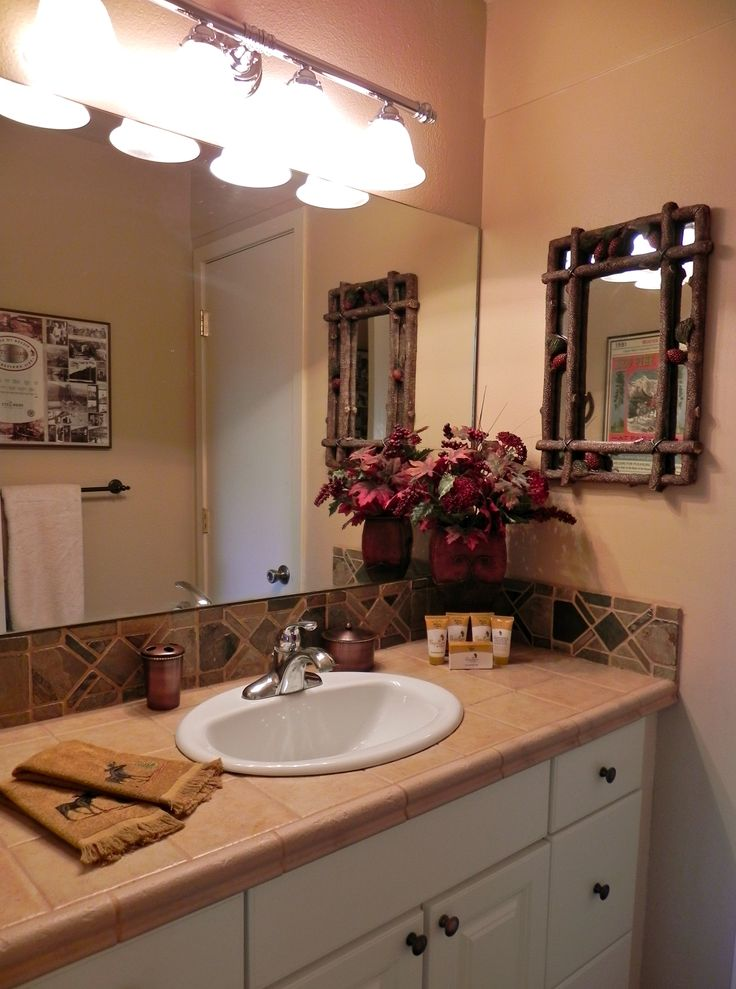 Guest bath with mountain cabin decor restyled vacation rentals amp re