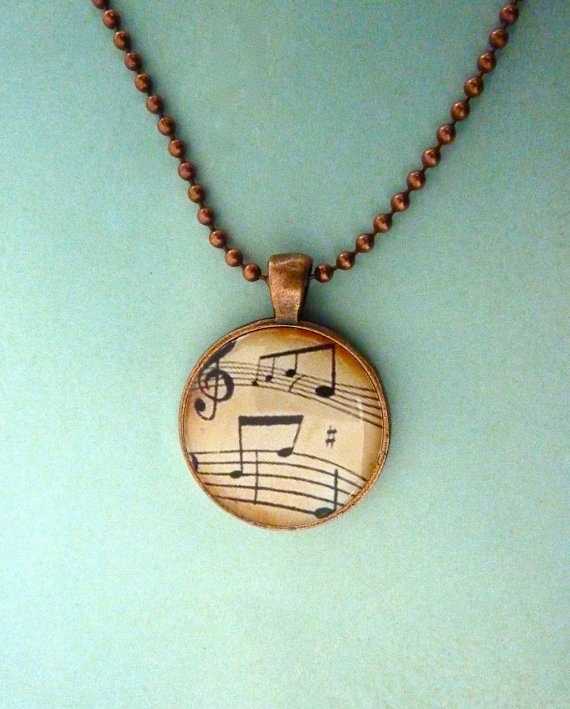 Musical notes necklace vintage music pendant by WilmaandBetty, $9.00
