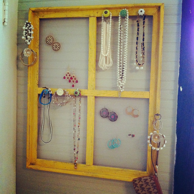 old wooden window turned jewelry holder craft ideas