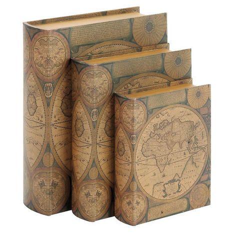 World Map Leather Faux Book Box Trio