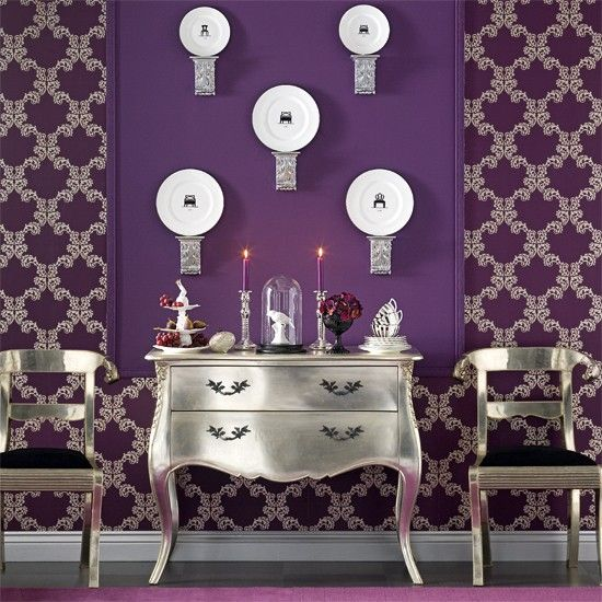 Dining room purple decor pinterest for Dining room ideas purple