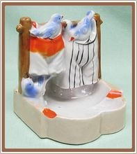Made In Japan Novelty Luster Ware Match Striker Ashtray Clothesline