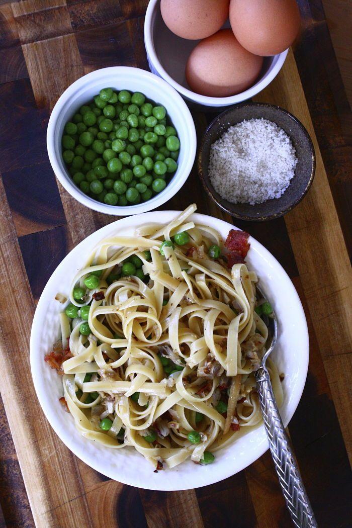 Lighter Pasta Carbonara with Peas | *** Food & Recipes *** | Pinterest