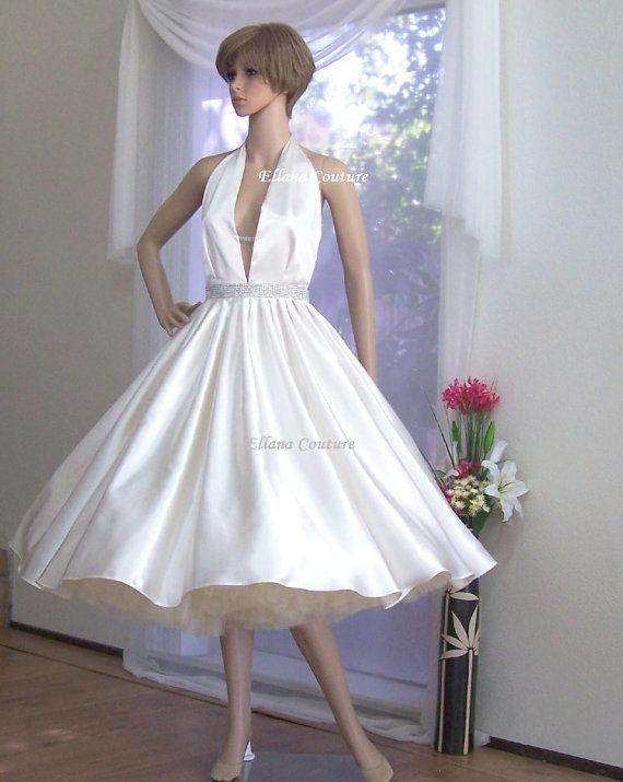 Vintage inspired tea length bridal gown retro style halter wedding