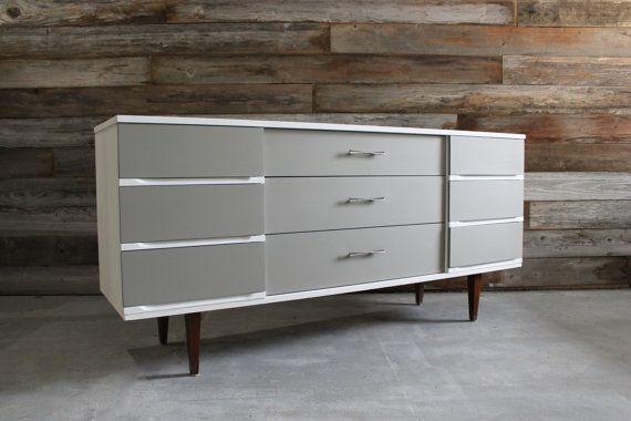 Best Painted Gray White Vintage Mid Century Modern Mcm Triple 400 x 300