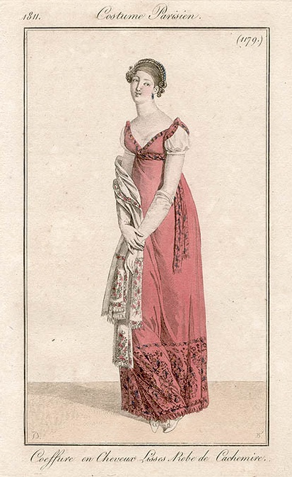 Pink shawl gown 1811 Costume parisien