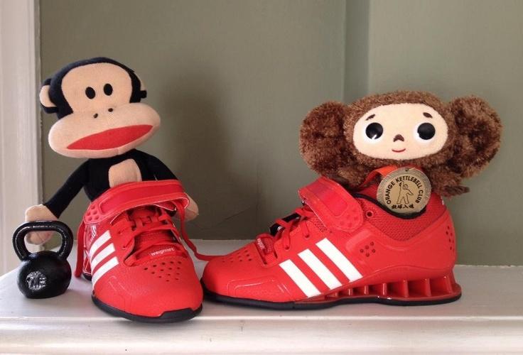 Adidas lifting shoes and Kettlebell http://babykettlebell.com