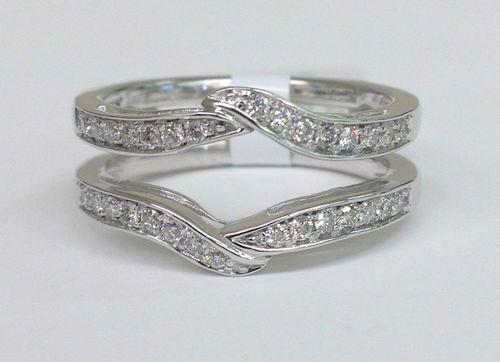 ... Enhancer Diamonds Ring Guard Wrap 14k White Gold Wedding Band