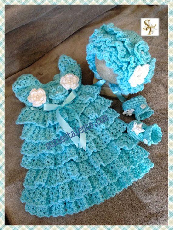 Crochet Ruffled Baby Dress Pattern : THREE PATTERN PT053- Baby Ruffle Dress Set, Crochet Baby ...
