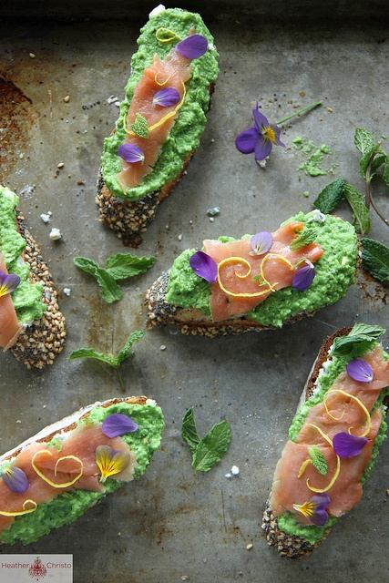 Smoked Salmon, Minty Pea and Goat Cheese Crostini by Heather Christo ...