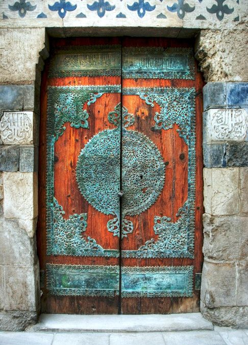aged patina on double wood doors
