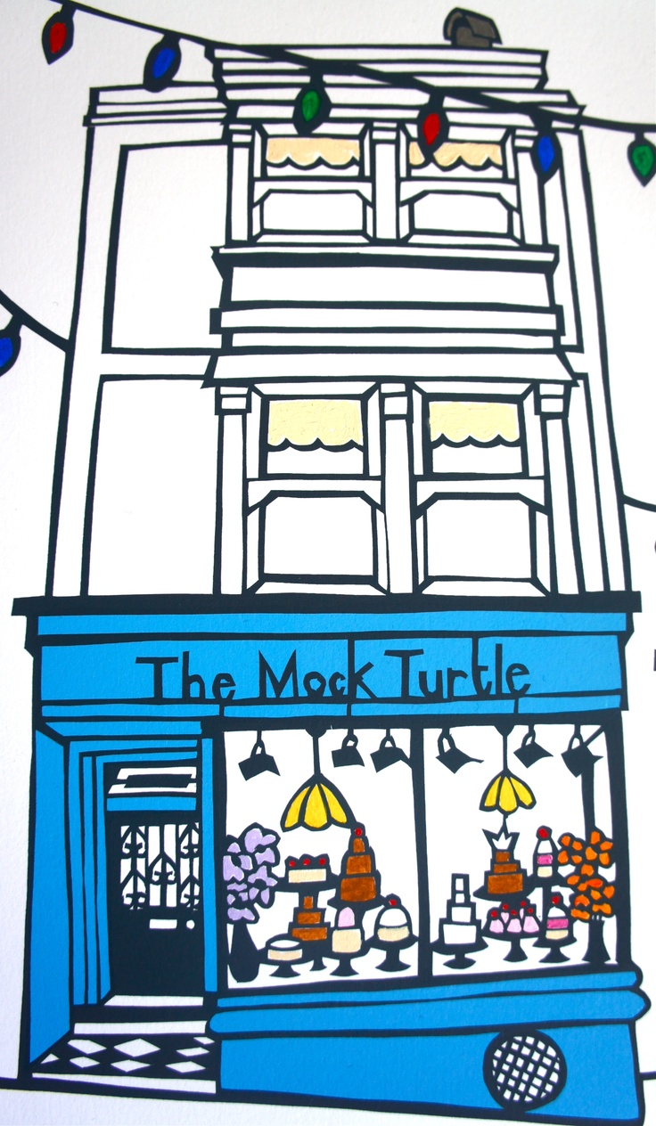 The Mock Turtle print from paper cut. Famous tea venue in Brighton