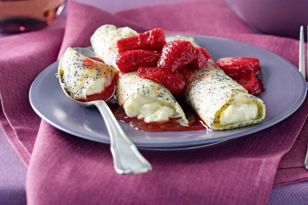 ... seed crepes with ricotta filling - Excellent Idea for Rhubarb Sauce
