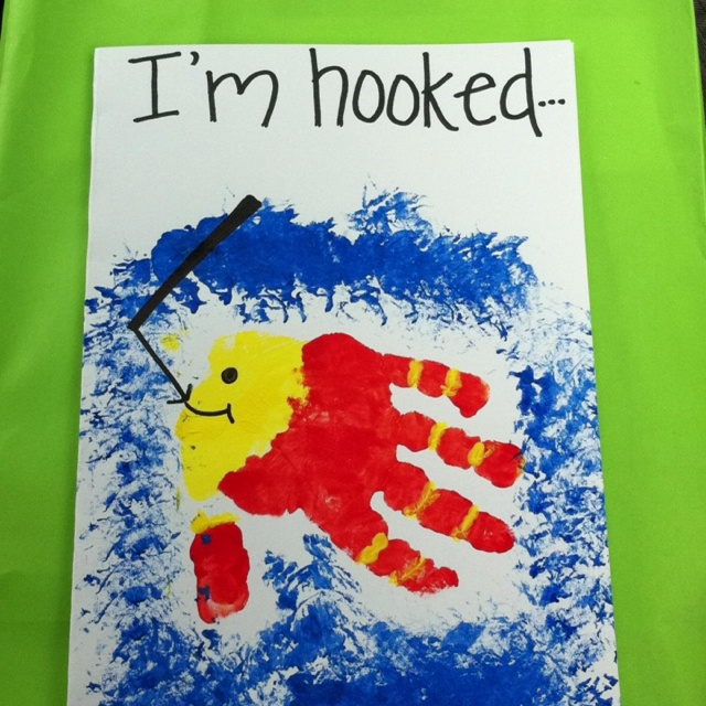 Fish handprint father 39 s day card school pinterest for Father s day fishing card