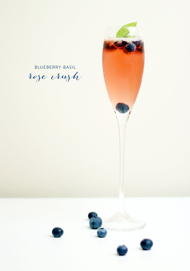 Blueberry Basil Rose Crush Cocktail | Recipe