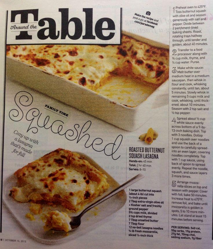 Roasted Butternut Squash Lasagna | FOOD: Other Stuff | Pinterest