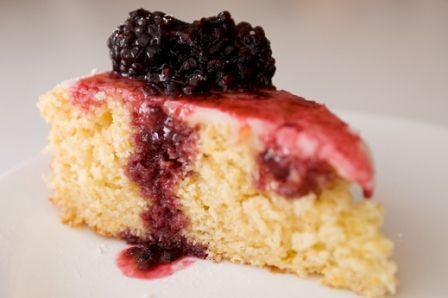 Lemon Cornmeal Cake with Blackberry Sauce Wedding Cake