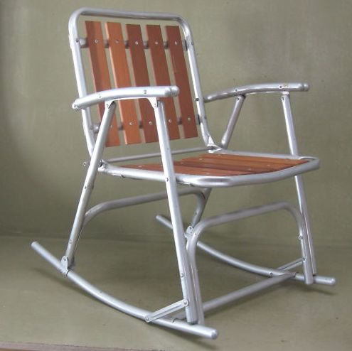 aluminum wood slats folding rocking chair