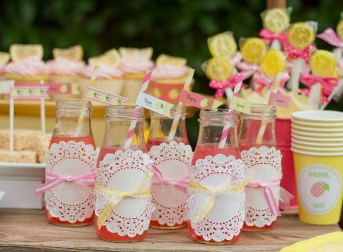 Party Idea: Wrap jars or cups with doilies for an added layer of cute! #partyidea