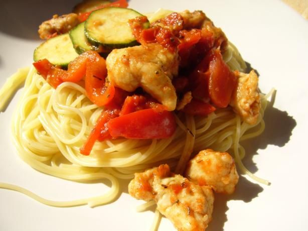 Chicken With Peppers, Zucchini and Tomatoes on Angel Hair | Recipe