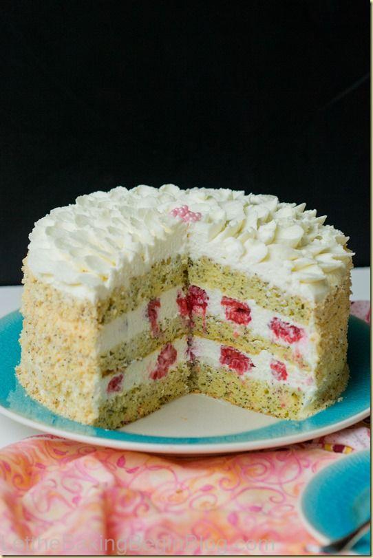Poppy Seed Lemon Cake w/ Raspberries | Recipe