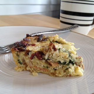 Breakfast casserole: Fontina cheese, egg, potato, bacon and spinach ...