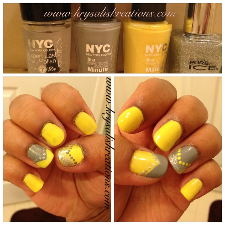 Nail design with yellow and grey polish